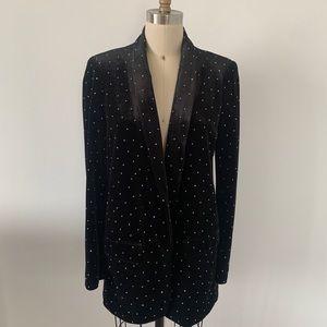 Zara Velvet Crystal Studded Blazer